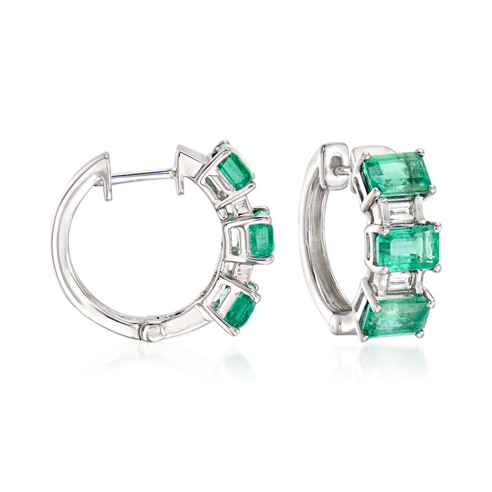 """3.30 ct. t.w. Emerald and .15 ct. t.w. Diamond Hoop Earrings in 14kt White Gold. 1/2"""""""