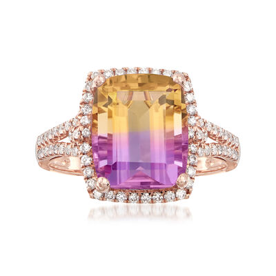 5.75 Carat Cushion-Cut Ametrine and .41 ct. t.w. Diamond Ring in 14kt Rose Gold, , default