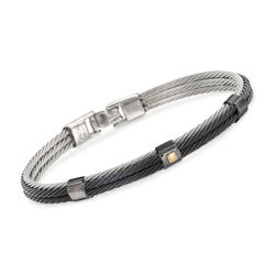 ALOR Men's Black and Gray Stainless Steel Cable Station Bracelet With 18kt Yellow Gold, , default