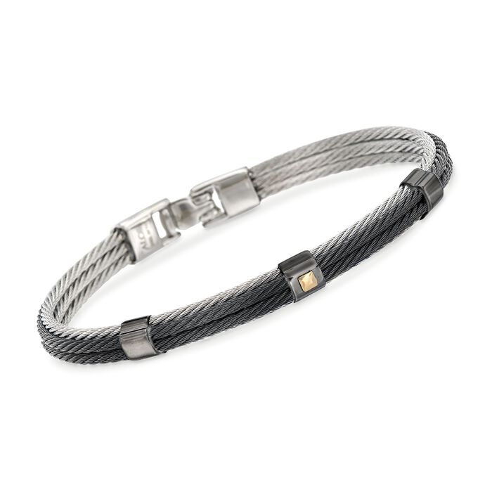 """ALOR Men's Black and Gray Stainless Steel Cable Station Bracelet with 18kt Yellow Gold. 7.75"""", , default"""
