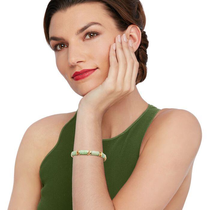 """Jade """"Good Fortune"""" Bracelet in 18kt Gold Over Sterling"""
