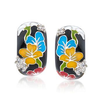"""Belle Etoile """"Constellations: Sakura"""" Multicolored Enamel and .25 ct. t.w. CZ Half-Hoop Earrings in Sterling Silver. 5/8"""", , default"""