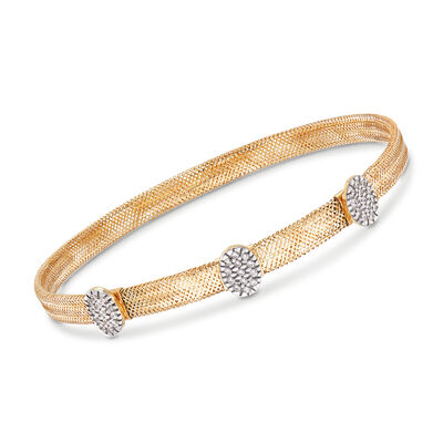 Italian .30 ct. t.w. CZ Triple Oval Station Mesh Bangle Bracelet in 18kt Yellow Gold, , default