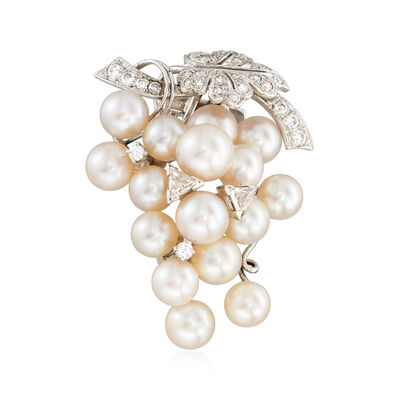C. 1960 Vintage Cultured Pearl and 1.00 ct. t.w. Diamond Grapevine Pin in 14kt White Gold , , default
