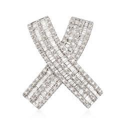 "1.00 ct. t.w. Diamond ""X"" Slide Pendant in 14 White Gold, , default"