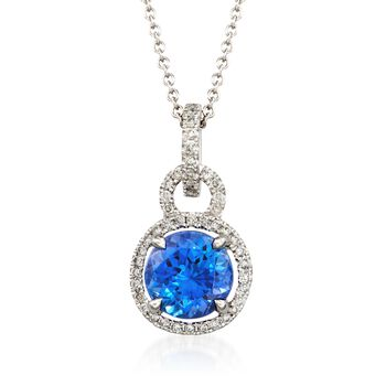 "Simon G. 1.65 Carat Tanzanite and .22 ct. t.w. Diamond Pendant Necklace in 18kt White Gold. 17"", , default"
