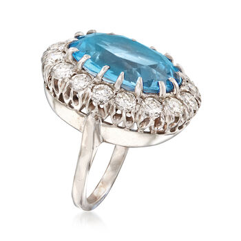 C. 1960 Vintage 9.00 Carat Synthetic Blue Spinel and 2.00 ct. t.w. Diamond Ring in 14kt White Gold. Size 5, , default