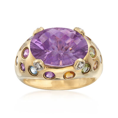 C. 2000 Vintage 5.50 Carat Amethyst and .52 ct. t.w. Multi-Gemstone Ring with Diamond Accents in 10kt Yellow Gold, , default