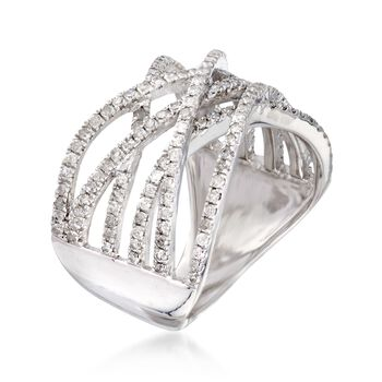 1.00 ct. t.w. Multi-Row Diamond Crisscross Ring in Sterling Silver, , default