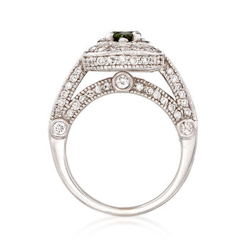 C. 2000 Vintage 1.30 ct. t.w. Diamond and .45 Carat Tourmaline Ring in 14kt White Gold. Size 5.5, , default