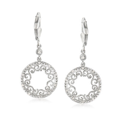 .20 ct. t.w. Diamond Openwork Circle Drop Earrings in Sterling Silver