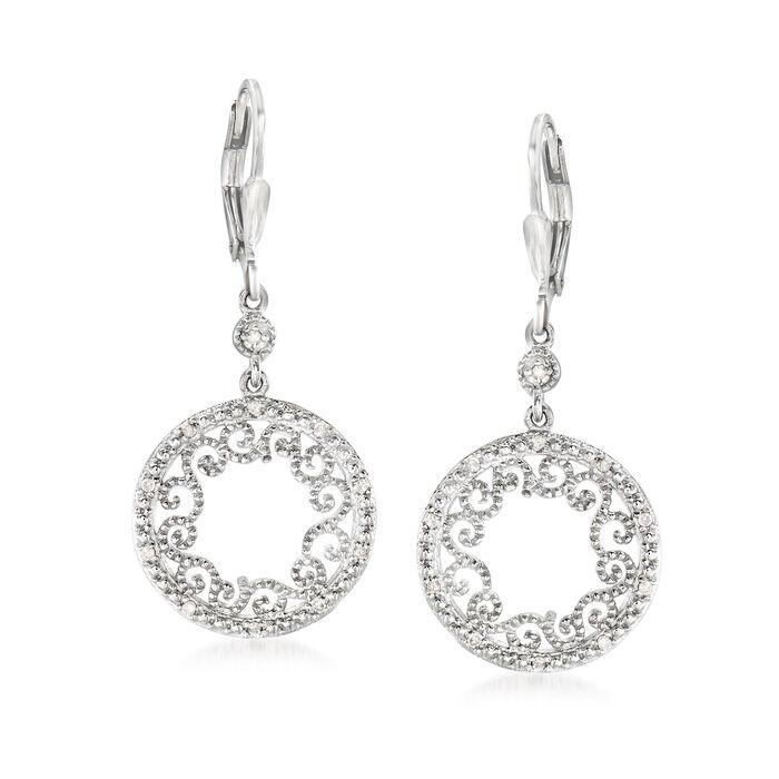 .20 ct. t.w. Diamond Openwork Circle Drop Earrings in Sterling Silver, , default