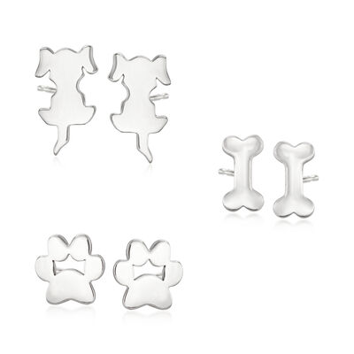 Sterling Silver Jewelry Set: Three Pairs of Dog Stud Earrings