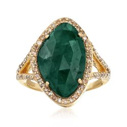 5.50 Carat Emerald and .59 ct. t.w. Champagne Diamond Ring in 18kt Gold Over Sterling, , default