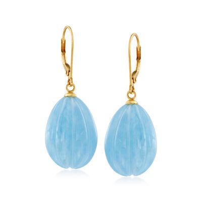 50.00 ct. t.w. Milky Aquamarine Drop Earrings in 14kt Yellow Gold