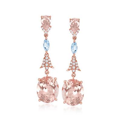 7.60 ct. t.w. Morganite, .30 ct. t.w. Aquamarine and .17 ct. t.w. Diamond Drop Earrings in 14kt Rose Gold