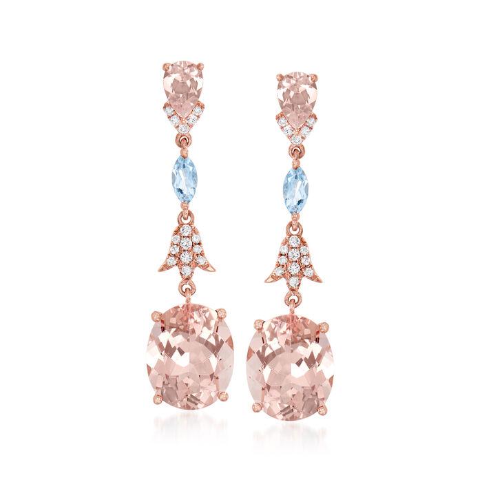 7.60 ct. t.w. Morganite, .30 ct. t.w. Aquamarine and .17 ct. t.w. Diamond Drop Earrings in 14kt Rose Gold, , default