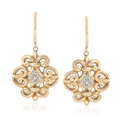 Fleur-De-Lis Earrings with Diamond Accents in 14kt Yellow Gold, , default