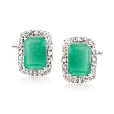 1.10 ct. t.w. Emerald Stud Earrings with Diamond Accents in Sterling Silver