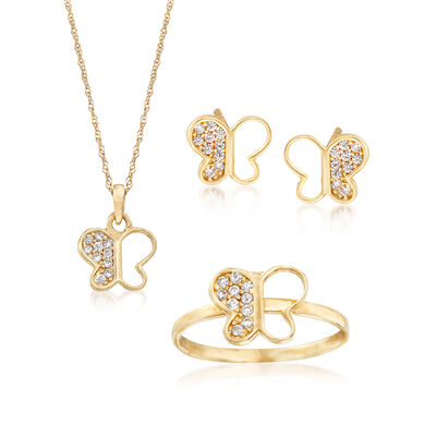 .80 ct. t.w. CZ Children's Jewelry Set: Butterfly Necklace, Earrings and Ring in 14kt Yellow Gold, , default