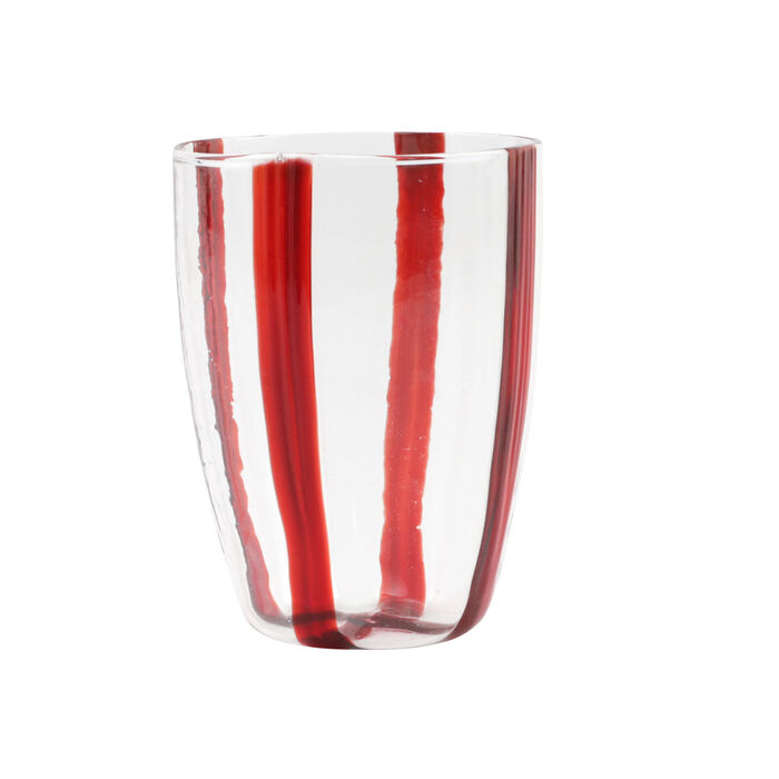 "Vietri ""Stripe Red"" Tall Tumbler from Italy"