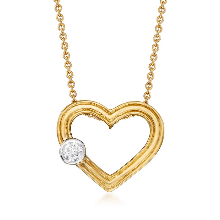 """18kt Yellow Gold Heart Necklace with Diamond Accent. 18"""", , default"""