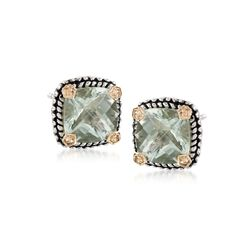 3.90 ct. t.w. Green Amethyst Stud Earrings in Sterling Silver and 14kt Yellow Gold, , default