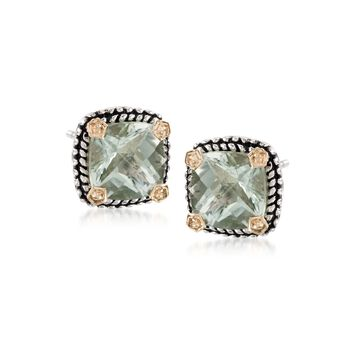 3.90 ct. t.w. Green Prasiolite  Stud Earrings in Sterling Silver and 14kt Yellow Gold, , default