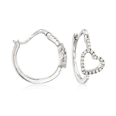 .50 ct. t.w. Diamond Heart Hoop Earrings, , default