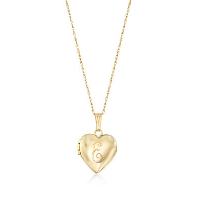 Child's 14kt Yellow Gold Single Initial Heart Locket Necklace, , default