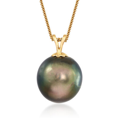 C. 1980 Vintage 12.5mm Black Cultured Pearl Pendant Necklace in 14kt Yellow Gold, , default