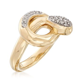 14kt Yellow Gold Snake Ring with Diamond Accents. Size 7, , default