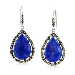 Lapis and Marcasite Teardrop Earrings in Sterling Silver, , default