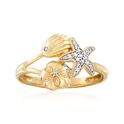 .10 ct. t.w. Diamond Starfish and Seashell Ring in 14kt Yellow Gold
