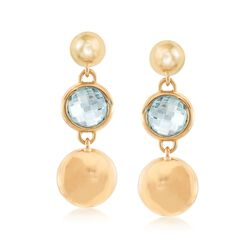 Italian Andiamo 2.60 ct. t.w. Blue Topaz Drop Earring in 14kt Yellow Gold, , default