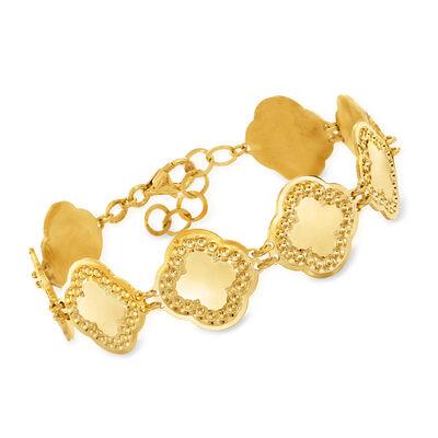 Italian 18kt Gold Over Sterling Flower Bracelet