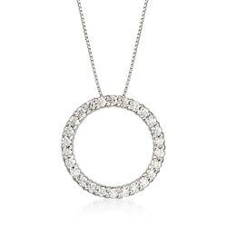 C. 2000 Vintage .80 ct. t.w. Diamond Circle Pendant Necklace in 14kt White Gold  , , default