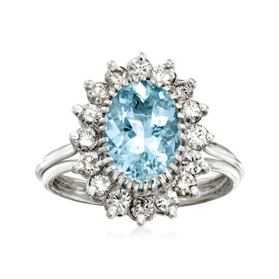 C. 1950 Vintage 2.65 Carat Aquamarine and .80 ct. t.w. Diamond Ring in Platinum