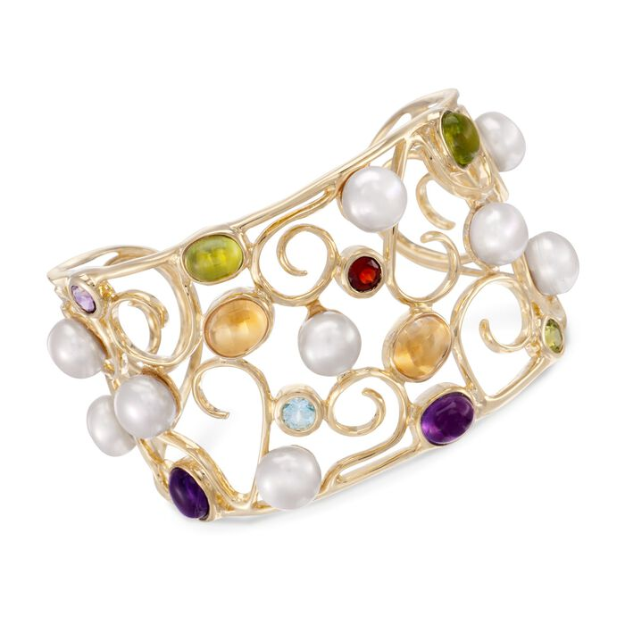9mm Cultured Pearl and 9.05 ct. t.w. Multi-Stone Swirl Cuff Bracelet in 18kt Gold Over Sterling
