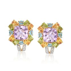 9.65 ct. t.w. Multi-Stone Earrings With Diamond Accents in 14kt Yellow Gold, , default