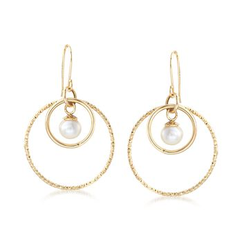 7-7.5mm Cultured Pearl Double-Circle Drop Earrings in 14kt Yellow Gold, , default