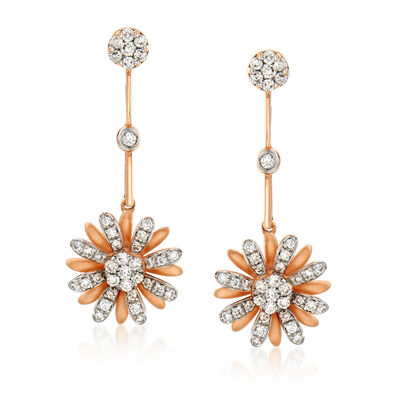 C. 1990 Vintage Giantti .39 ct. t.w. Diamond Flower Earrings in 18kt Rose Gold, , default