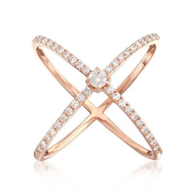 ".51 ct. t.w. Diamond ""X"" Ring in 14kt Rose Gold, , default"