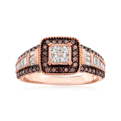 1.10 ct. t.w. Brown and White CZ Ring in 18kt Rose Gold Over Sterling