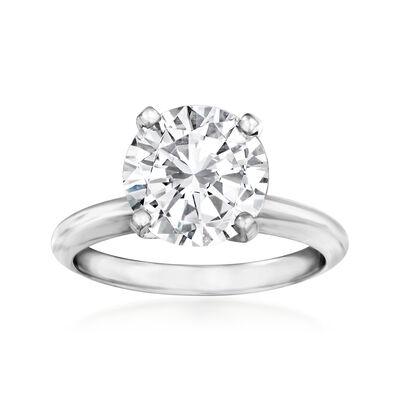 3.02 Carat Certified Diamond Solitaire Engagement Ring in Platinum