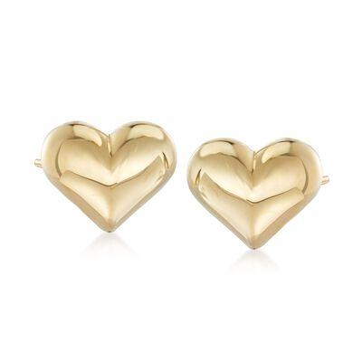 14kt Yellow Gold Puffed Heart Stud Earrings, , default