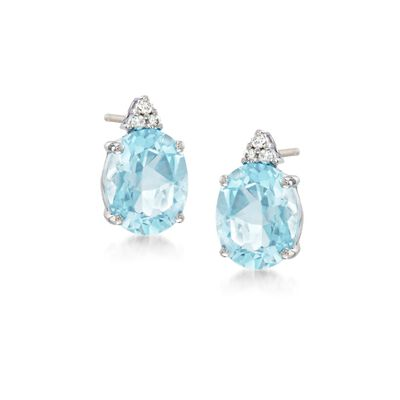 4.00 ct. t.w. Aquamarine and .10 ct. t.w. Diamond Earrings in 14kt White Gold, , default