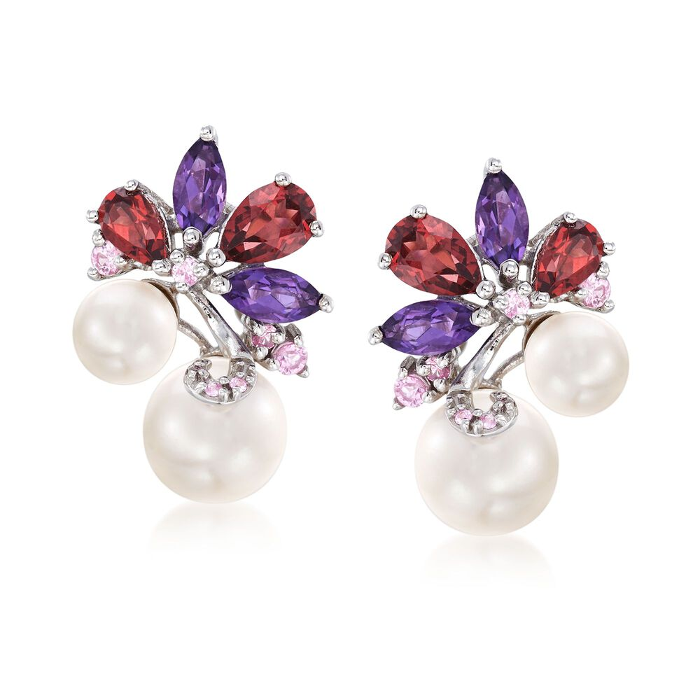 bce674282ea80 6-8.5mm Cultured Pearl and 2.70 ct. t.w. Multi-Stone Cluster Drop Earrings  in Sterling Silver