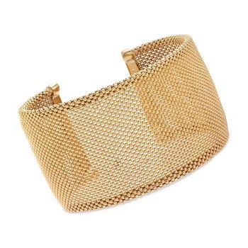 "Italian 18kt Yellow Gold Over Sterling Beaded Cuff Bracelet. 7.5"", , default"