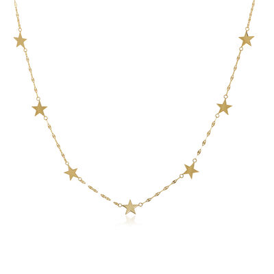 14kt Yellow Gold Seven Star Station Necklace, , default